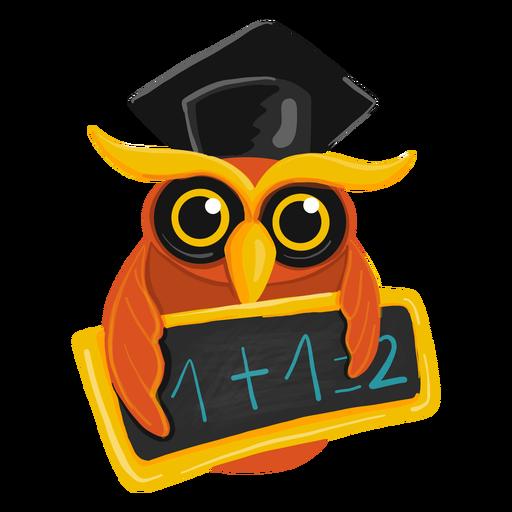Graduate owl holding chawkboard Transparent PNG