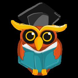 Coruja de pós-graduação segurando o livro aberto