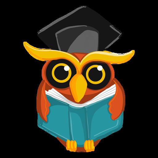 Búho graduado con libro abierto
