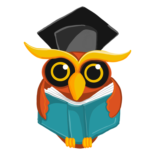 Graduate owl holding open book Transparent PNG
