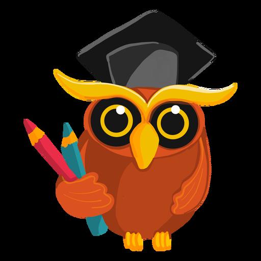 Búho graduado con lápices