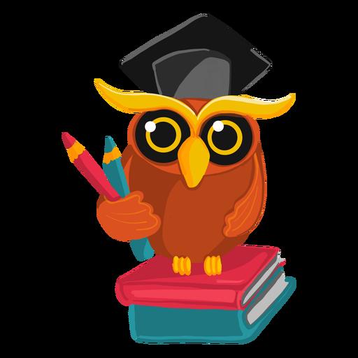 Ilustración de búho graduado