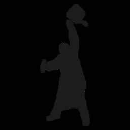 Sombrero de graduado tirando silueta
