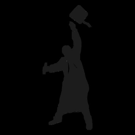 Graduado lanzando sombrero silueta