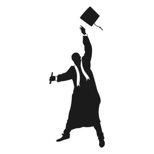 Graduate throwing hat silhouette Transparent PNG