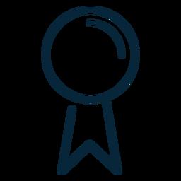 Icono de trazo de cinta de premio de graduación