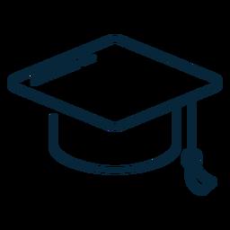 Icono de trazo de sombrero de graduación