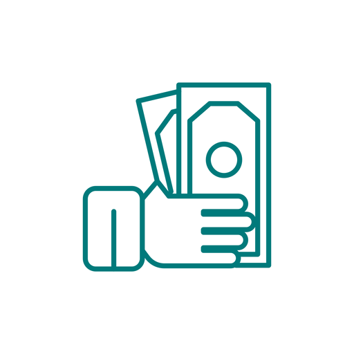 Mão segurando o ícone de traço de dinheiro Transparent PNG