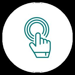 Puntero de mano haciendo clic en el icono de trazo