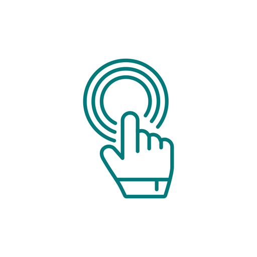 Hand pointer clicking stroke icon