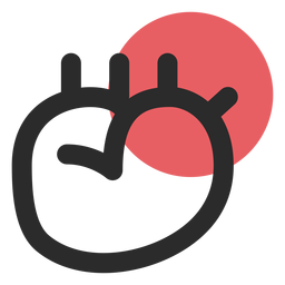 Heart organ colored stroke icon