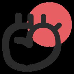 Icono de trazo coloreado órgano de corazón