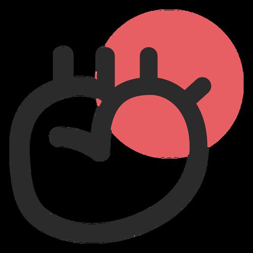 Icono de trazo coloreado órgano de corazón Transparent PNG