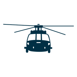 Helicóptero vista frontal silueta