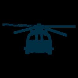 Silhueta de vista frontal de helicóptero