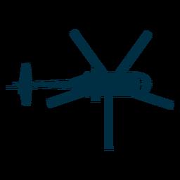 Helicóptero vista superior silueta