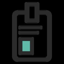 Ícone de traço colorido de crachá de identificação