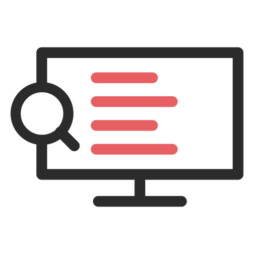 Icono de trazo de color de búsqueda en Internet Transparent PNG