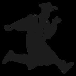 Saltando, graduado, segurando, diploma, silueta
