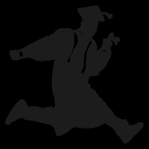 Graduado de salto con silueta de diploma