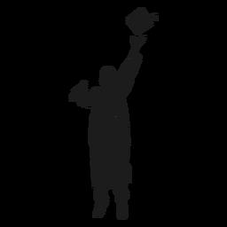 Salto graduado jogando silhueta de chapéu