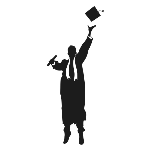 Jumping graduate throwing hat silhouette Transparent PNG