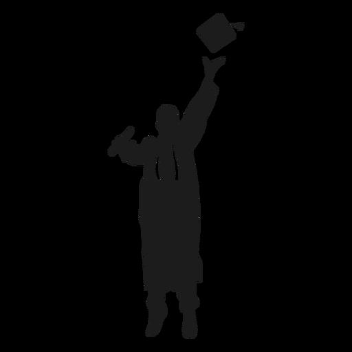 Salto graduado lanzando sombrero silueta
