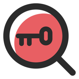 Icono de trazo de color de búsqueda de palabras clave