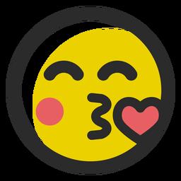 Kissing heart colored stroke emoticon