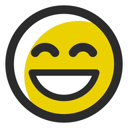 Laughing colored stroke emoticon Transparent PNG