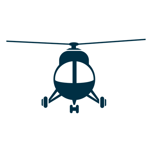 Silhueta de vista frontal de helicóptero leve Transparent PNG