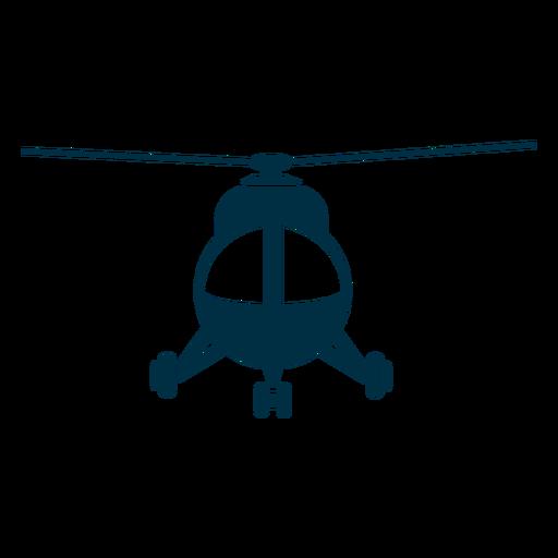Silueta de vista frontal de helicóptero ligero