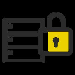 Ícone de traço colorido de arquivo bloqueado