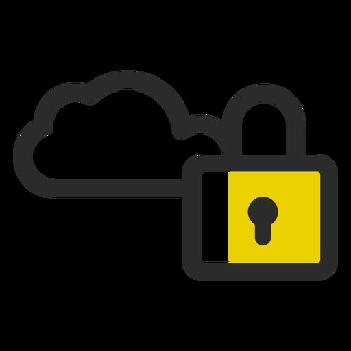 Ícone de traço colorido de nuvem bloqueada Transparent PNG