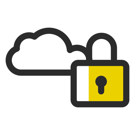 Locked cloud colored stroke icon Transparent PNG