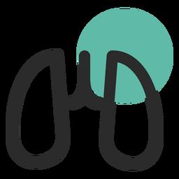 Icono de trazo de color de órgano de pulmones