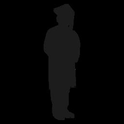 Hombre graduado sosteniendo diploma silueta