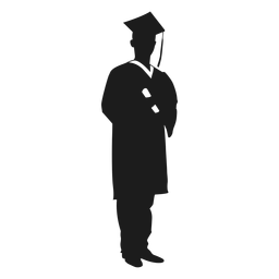 Männlicher Absolvent, der Diplomschattenbild hält