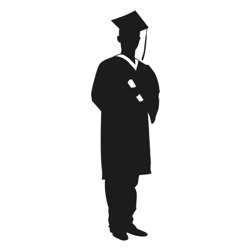 Male graduate holding diploma silhouette - Transparent PNG ...