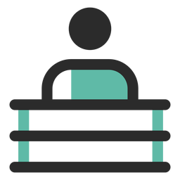 Man behind desk icon