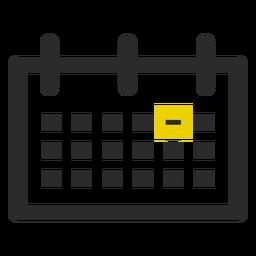 Icono de trazo de color de fecha marcada