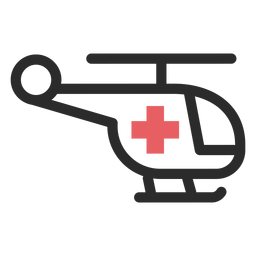 Ícone de traço colorido de helicóptero médico