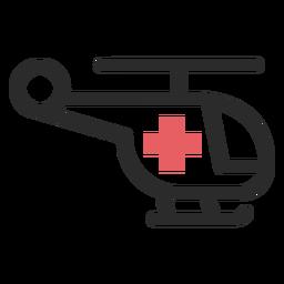 Medizinischer Hubschrauber farbige Strich-Symbol