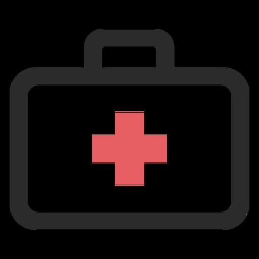 Ícone de traço colorido de mala médica Transparent PNG