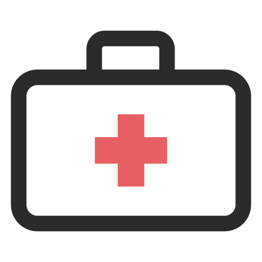 Medical suitcase colored stroke icon Transparent PNG