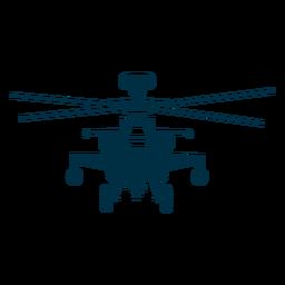 Helicóptero militar vista frontal silueta