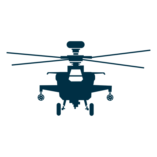 Military helicopter front view silhouette