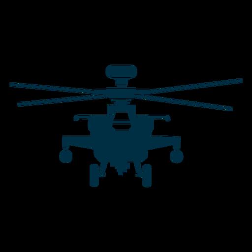 Silueta de vista frontal de helicóptero militar Transparent PNG