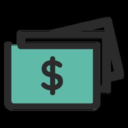 Contas de dinheiro ícone de traço colorido