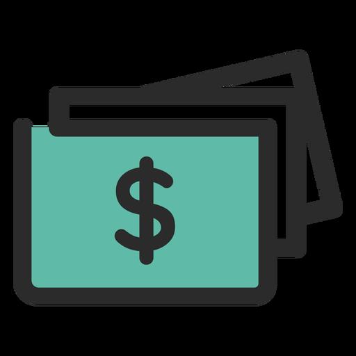 Icono de trazo coloreado de billetes de dinero Transparent PNG